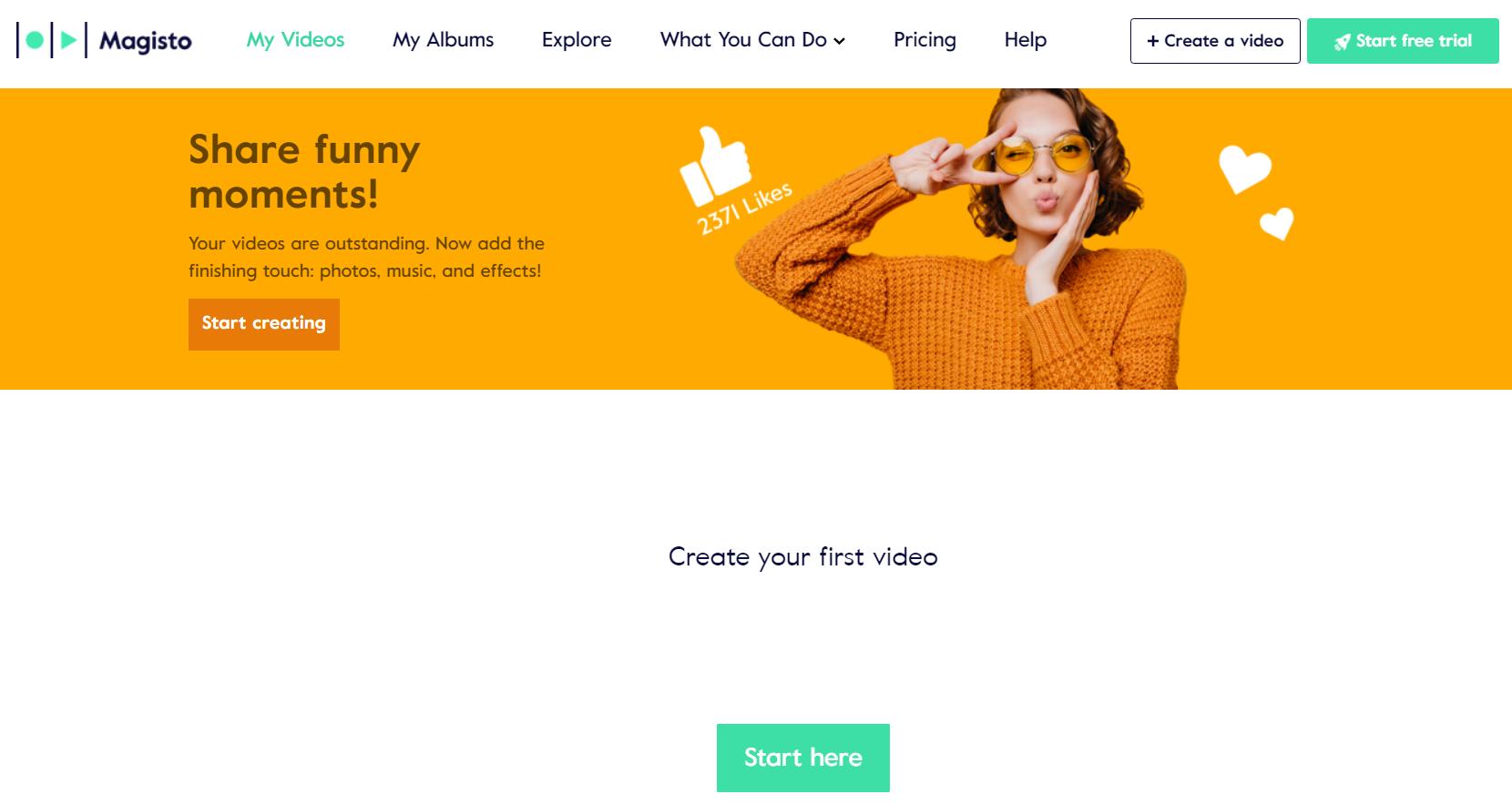 Captura de tela da página do Magisto que é um aplicativo utilizado para produzir vídeos online.