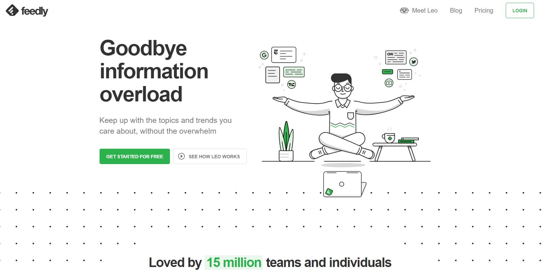Captura de tela do Feedly que é um aplicativo que mostra conteúdos diários sobre o que te interessa.