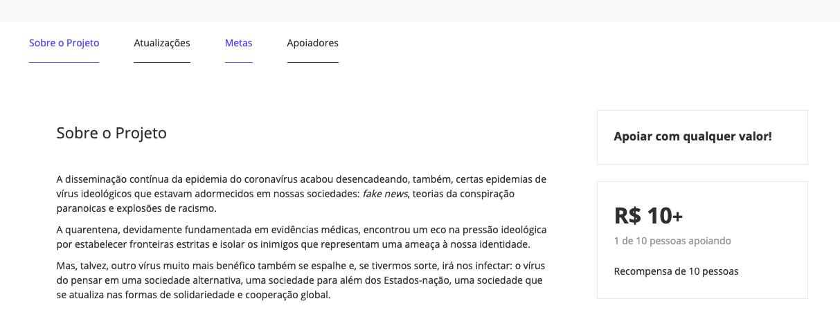 Descrição dos projetos na plataforma de crowdfunding EVOÉ
